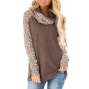 Fashionable Women's Long Sleeve Cowl Neck Leopard Printed Patchwork Loose Fit Tee