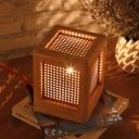 Beige Rectangular Desk Light Modernism 1 Head Wood Night Table Lamp for Bedroom