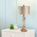 Contemporary Cylindrical Nightstand Lamp Fabric 1 Bulb Reading Book Light in Gold