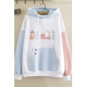 Chic Street Girls' Long Sleeve Drawstring Cat Letter ABCD Embroidery Pouch Pocket Colorblocked Oversize Hoodie