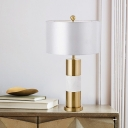 Cylindrical Reading Lamp Modern Fabric 1 Head White Task Lighting for Living Room