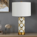 Cylindrical Table Light Modern Fabric 13