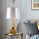1 Head Conical Table Lamp Modern Fabric Desk Light in White with Gold Geometric Metal Base