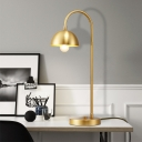 Curved Arm Nightstand Lamp Contemporary Metal 1 Bulb Reading Book Light in Gold