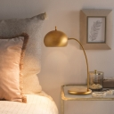 Brass Domed Task Lighting Contemporary 1 Bulb Metal Night Table Lamp for Bedroom