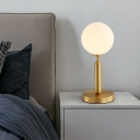 Contemporary 1 Head Desk Lamp Brass Sphere Reading Book Light with Opal Glass Shade