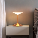 Modernism Wide Flare Nightstand Lamp Acrylic LED Reading Book Light in Rose Gold