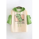 Pretty Girls Green Short Sleeve Drawstring Japanese Letter Dinosaur Graphic Colorblock Loose Hoodie