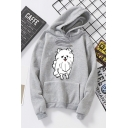 Basic Girls Long Sleeve Drawstring Dog Patterned Pouch Pocket Loose Fit Hoodie