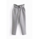 Elegant Ladies High Rise Buckle Belted Plaid Patterned Ankle Length Tapered Fit Work Pants in Gray