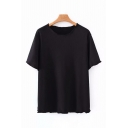 Simple Womens Solid Color Short Sleeve Round Neck Stringy Selvedge Relaxed Fit T Shirt