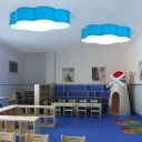 Cartoon Modern Cloud Flush Light Blue Acrylic LED Ceiling Light for Nursing Room Corridor 19.5