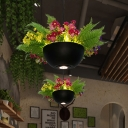 Black 1 Head Pendant Lamp Industrial Metal Dome LED Hanging Ceiling Light with Flower Decoration