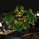 Metal Black Drop Pendant Birdcage 1-Light Antique LED Down Lighting with Plant Decor