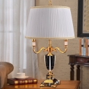 3 Bulbs Living Room Desk Lamp Modern White Table Light with Pleated Fabric Shade