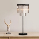 Contemporary 3 Bulbs Desk Light Black 2-Tier Night Table Lamp with Hand-Cut Crystal Shade