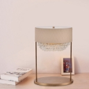 1 Head Bedroom Desk Lamp Modern Gold Table Light with Tiered Beveled Crystal Shade