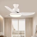 3 Blades Acrylic White Semi Flushmount Circle LED Bedroom Pendant Fan Lamp Fixture, 40