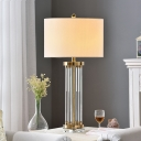 White Tube Table Lamp Modernist 1 Bulb Clear Crystal Desk Light with Fabric Shade