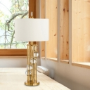 Straight Sided Shade Nightstand Lamp Modernism Fabric 1 Bulb Reading Light in White