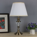 Contemporary 1 Bulb Task Lighting White Flared Small Desk Lamp with Fabric Shade