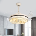 Butterfly Crystal Pendant Fan Lighting Contemporary Living Room 4 Blades LED Semi Flush Mount Lamp in Cream, 42