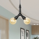 Black Ball LED Ceiling Lighting Industrial Amber Glass 2/3/4 Lights Restaurant Hanging Chandelier