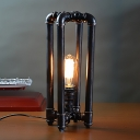 1 Bulb Rectangle Cage Desk Lamp Industrial Black Finish Metal Pipe Night Table Light