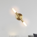 Simple Slim Tube Sconce Light Fixture Metal 2-Head Bedside Wall Mount Lamp in Brass