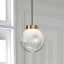 White and Clear Dimpled Glass Round Pendant Simple 1 Bulb Hanging Ceiling Light for Bedside