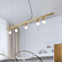Simple Linear Metal Chandelier 5 Heads Hanging Ceiling Light in Brass for Kitchen Island