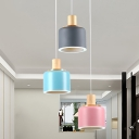 Modern Nordic 3 Bulbs Hanging Light with Metal Shade White Small Drum Cluster Pendant Lamp with Wood Top