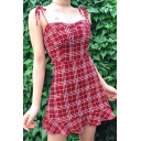 Lovely Girls Sleeveless Bow Tie Shoulder Checker Printed Ruffle Trim Mini A-Line Cami Dress in Red
