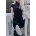 Vintage Chinese Style Short Sleeve Mandarin Collar Frog Button Slit Side Velvet Mini Tight Dress in Black