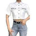 Girls Trendy Short Sleeve Lapel Neck Button Down Letter ROCK MORE Flap Pockets Fitted Crop Shirt in White