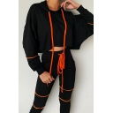 Black Trendy Long Sleeve Drawstring Contrast Piped Oversize Crop Hoodie for Girls