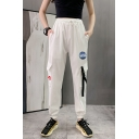 Cool Trendy Boys Drawstring Waist NASA Letter Flap Pockets Buckle Strap Cuffed Tapered Trousers