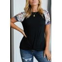 Simple Short Sleeve Round Neck Floral Printed Patchwork Relaxed Black Tee