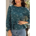 Trendy Ladies Long Sleeve Round Neck All Over Floral Printed Ruffled Trim Relaxed Blouse Top in Green