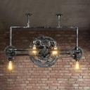 Silver Gray Gear Hanging Pendant Lights Loft Industrial Metal 6 Heads Hanging Chandelier Light for Restaurant