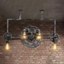 Silver Gray Gear Hanging Pendant Lights Loft Industrial Metal 6 Heads Hanging Chandelier Light for Restaurant