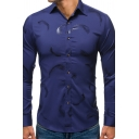 Leisure Mens Long Sleeve Lapel Neck Button Front All Over Feather Bronzing Slim Fitted Shirt