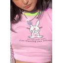 Hot Street Girls Short Sleeve Round Neck Letter IT'S NOT YOUR FAULT Rabbit Graphic Contrast Piped Fitted Crop Tee in Pink