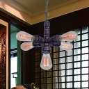 Iron Copper Finish Chandelier Light Sputnik Pipe 5 Bulbs Industrial Hanging Ceiling Lamp