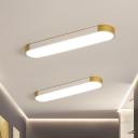 Metallic Slim Rectangle Flush Mount Minimalist LED Flush Light Fixture in White and Gold/Black and Gold