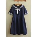 Trendy Girls Short Sleeve Sailor Collar Varsity Stripe Bow Tied Neck Mid Swing Dress