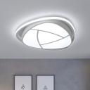 Grey Floral Flush Lamp Fixture Minimalist LED Metal Flush Mount with White Acrylic Shade
