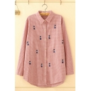 Pretty Long Sleeve Lapel Collar Button Front Checkered Cat Embroidered Curved Hem Oversize Shirt