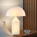 White Glass Mushroom Shaped Desk Lamp Simple Style LED Night Table Light for Bedside