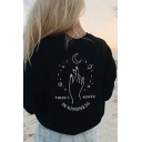 Ladies Stylish Long Sleeve Round Neck Letter IN KINDNESS Moon Hand Graphic Relaxed Pullover Sweatshirt